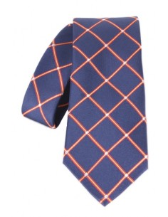 Rhombus pattern tie- navy blue