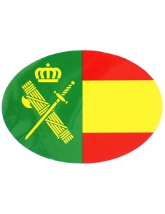 Spanish flag sticker with the Civil Guard logo