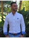 Camisa Sport Blanca con Coderas en Azulonas