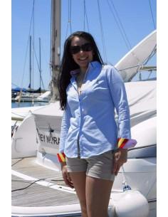 Camisa 500 Rayas - Celeste y Blanca