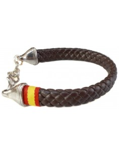 black leather bracelet with the spanish flag