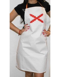 Apron with the burgundy cross