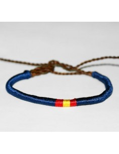 Pulsera Bandera España Hilo Fino Azul Marino