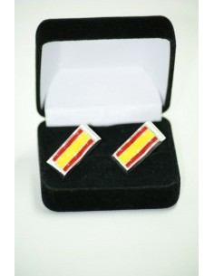 Cufflinks Spanish Flag with edge of rhodium