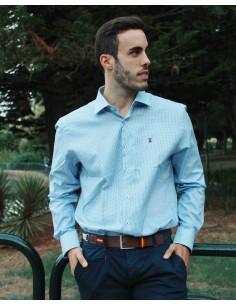 Clásica y Elegante Camisa Cuadros de Vestir de Caballero - Verde y Blanco