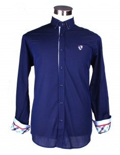 Shirt with Details - Blue Marine