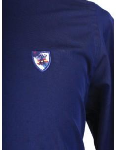 Camisa Azul Marina con Detalles en Cuadros