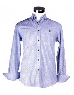 Camisa Estampada en Tonos Azules y Detalles Rojo