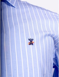 Distinguida Camisa Rayas de Caballero - Celeste