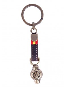 Taurine Keychain with Montera and Spain Flag - Bronze
