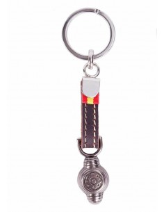 Taurine Keychain with Montera and Spain Flag - Old Silver