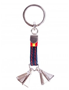 Leather Keychain with Stirrup and Spain Flag