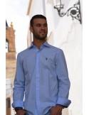 Camisa Cuadro de Caballero - Celeste