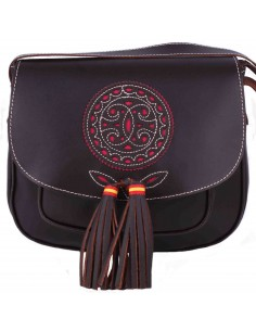 Leather Bag with Tassels - Brown