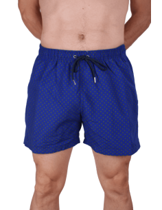 Swinsuit Blue with Green Print