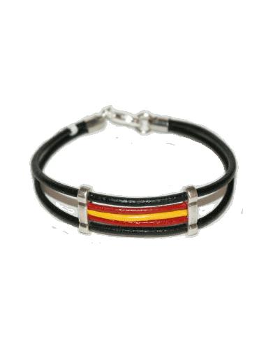 Pulsera Cuero Negra Bandera España
