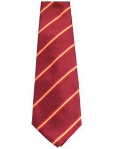 Corbata Bandera España Raya Ancha - Burdeos