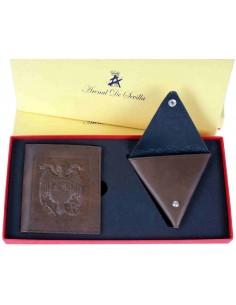 Cartera Águila San Juan y Monedero España en Chocolate