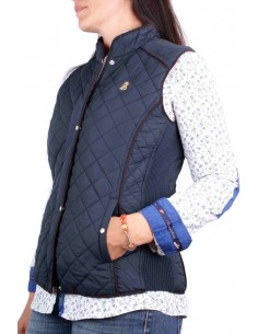 Vest in navy blue with placket