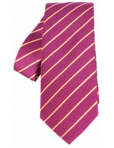 Striped Tie with Spanish Flag Details - Burgundy