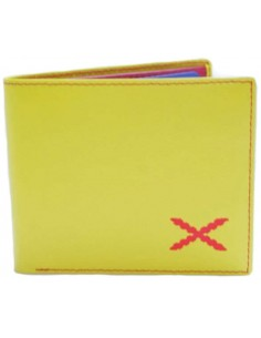 Burgundy Cross Wallet - Yellow