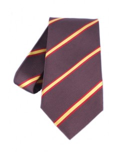 Striped Tie with Spanish Flag Details - Brown