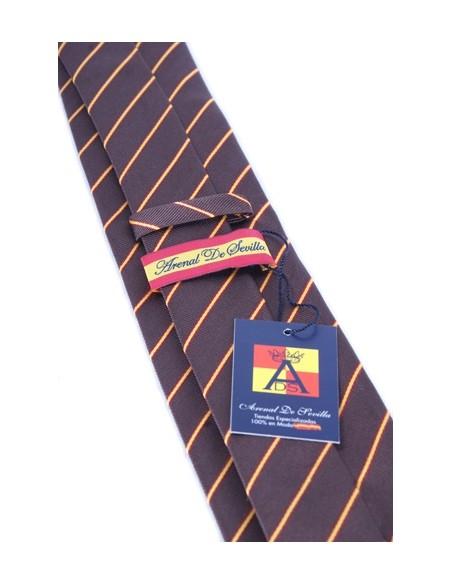 Corbata Bandera España Raya Fina - Marrón