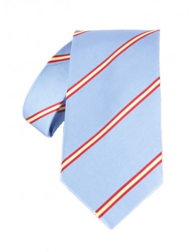 Striped Tie with Spanish Flag Details - Sky Blue