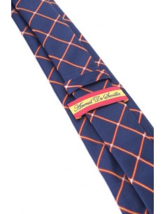 Spanish Flag Checked Tie - Navy Blue