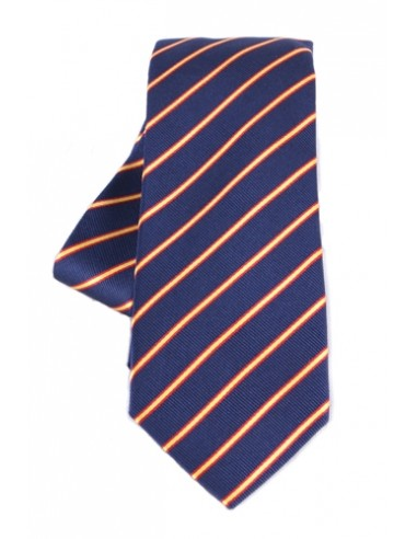 Striped Tie with Spanish Flag Details - Navy Blue