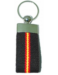 Spanish Flag Details Elastic Key Ring - Brown