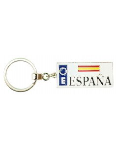 Spanish License Plate Key Ring