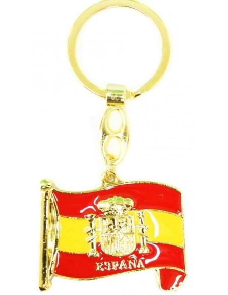 Spanish flag with badge keyring