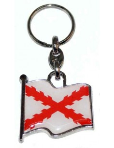 Burgundy Cross Flag Key Ring