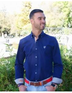 Camisa Sport Marina con Coderas en Cuadros