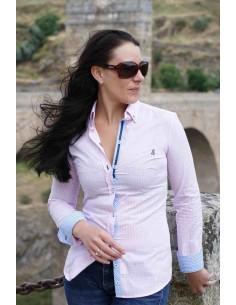 Camisa Modelo Alcántara Cuadros de Mujer - Rosa y Blanca