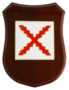 Burgundy Cross Wooden Insignia