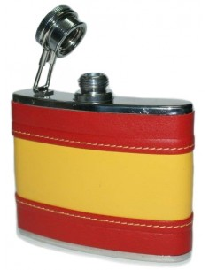 Spanish Flag Leather Liquor Flask