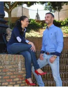 Camisa Sport Celeste con Coderas en Marino