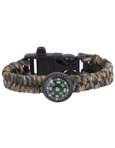 Paracord Bracelet with Compass - Green