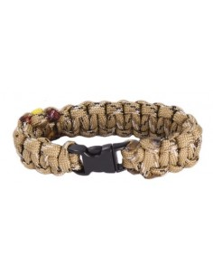 Paracord Bracelet with Spanish Flag Details - Camel
