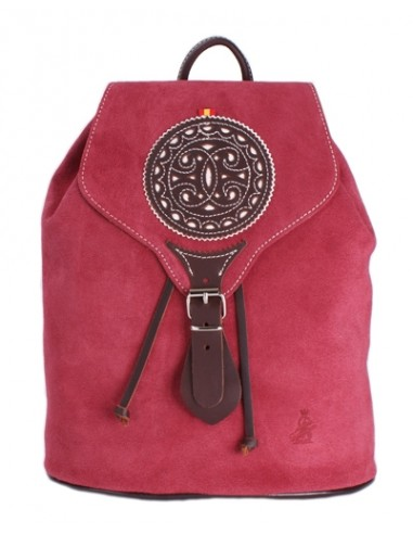 Split Leather Backpack - Burgundy