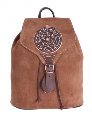Split Leather Backpack - Brown