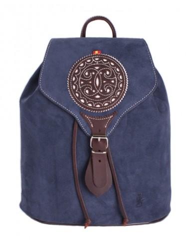 Split Leather Backpack - Navy Blue