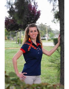 Burgundy Cross Polo Shirt - Navy Blue
