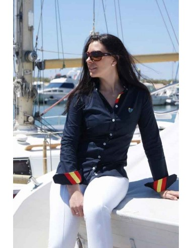Red Burladero Elbow Patches Women Shirt - Navy Blue