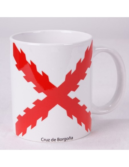 Taza Cerámica Cruz Borgoña