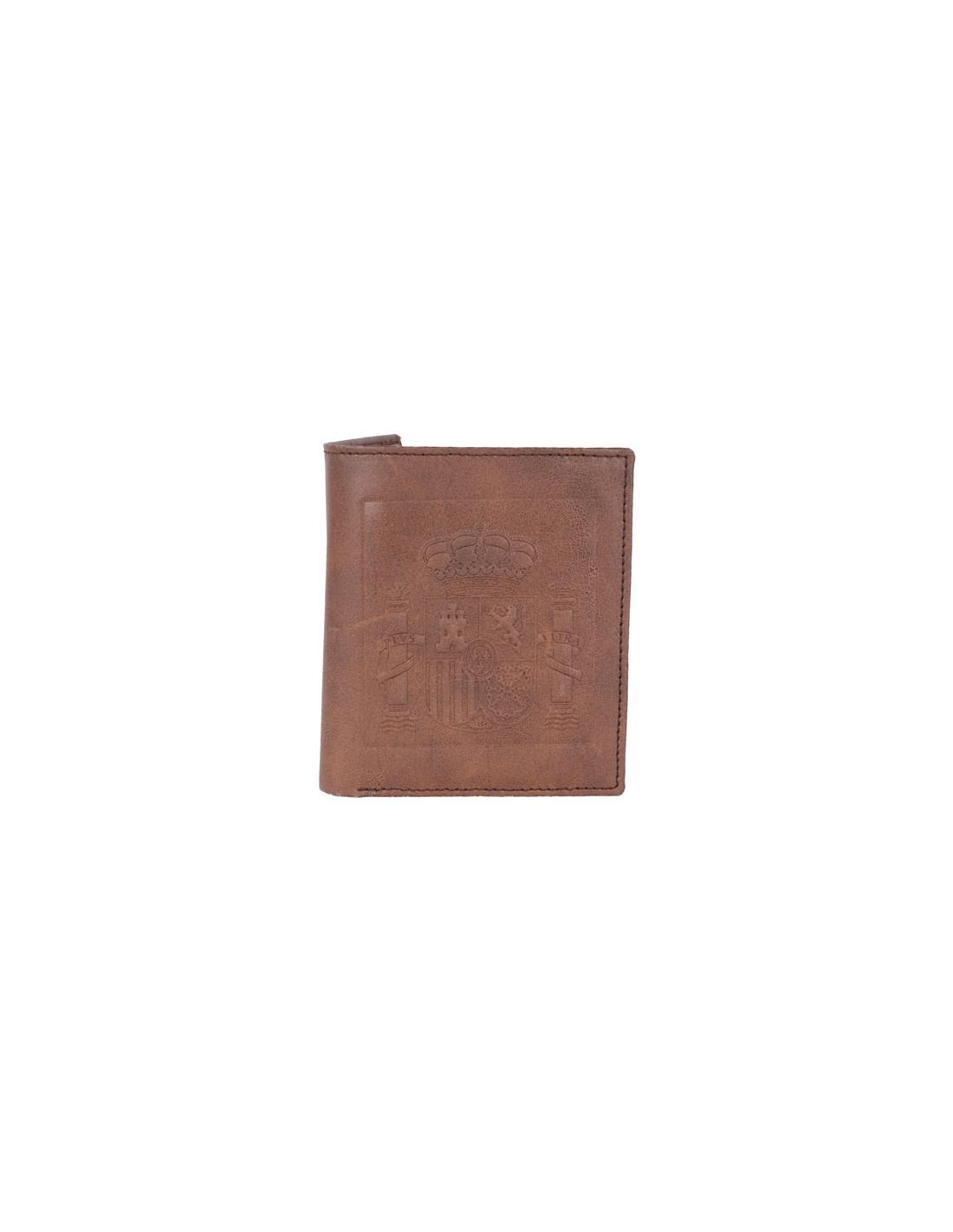 6640416a7 Cartera de Cuero con Escudo de España en Color Chocolate
