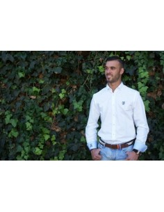 Man Shirt - White with Light Blue Details