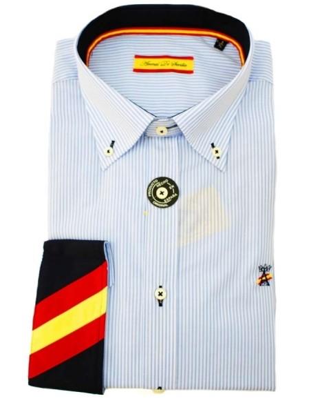 Camisa Hombre 500 Rayas Celeste